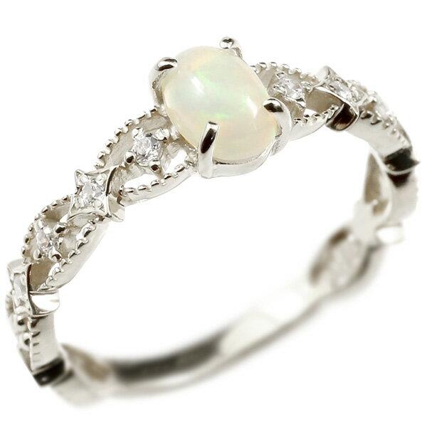 婚約指輪 リング ホワイトゴールドk10 オパール ダイヤモンド エンゲージリング 指輪 透かし ミル打ち ピンキーリング アンティーク 10金 宝石 レディース