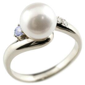 パールリング 真珠 フォーマル タンザナイト シルバー925 リング キュービックジルコニア ピンキーリング キュービック 指輪 宝石 妻 嫁 奥さん 女性 彼女 娘 母 祖母 パートナー 送料無料