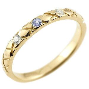ピンキーリング ダイヤモンド タンザナイト イエローゴールドk10 10金 k10 アンティーク ストレート チェック柄 12月誕生石 指輪 ダイヤリング 送料無料 人気