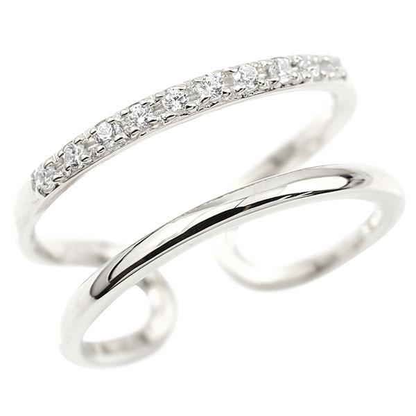指輪 婚約指輪 ピンキーリング ダイヤモンド ホワイトゴールドk18 エンゲージリング 2連リング フリーサイズリング フリスタ 18金