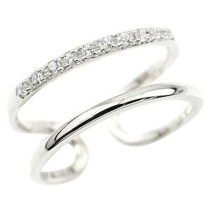 フリーサイズ 婚約 指輪 ピンキーリング ホワイトゴールドk18 キュービックジルコニア エンゲージリング 2連リング フリーサイズリング フリスタ 18金 の 送料無料 人気