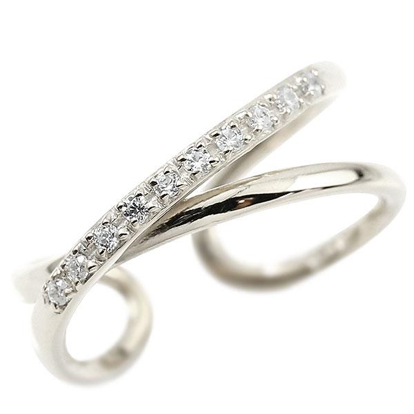 指輪 婚約指輪 ピンキーリング ダイヤモンド ホワイトゴールドk10 エンゲージリング 2連リング フリーサイズリング フリスタ 10金