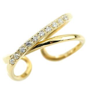 指輪 婚約指輪 ピンキーリング ダイヤモンド イエローゴールドk18 エンゲージリング 2連リング フリーサイズリング フリスタ 18金 妻 嫁 奥さん 女性 彼女 娘 母 祖母 パートナー