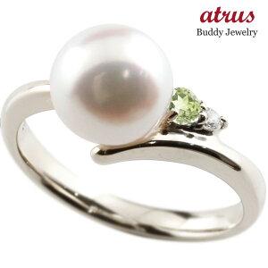パールリング 真珠 フォーマル ペリドット ホワイトゴールドk10 リング ダイヤモンド ピンキーリング ダイヤ 指輪 10金 宝石 送料無料
