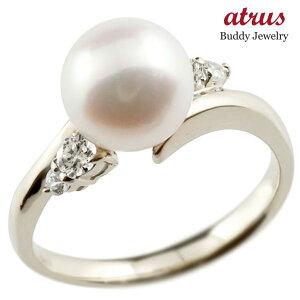 パールリング 真珠 フォーマル ダイヤモンド ホワイトゴールドk10 リング ピンキーリング ダイヤ 指輪 10金 スパイラル 宝石 送料無料 LGBTQ 男女兼用