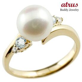 パールリング 真珠 フォーマル アクアマリン イエローゴールドk18 リング ダイヤモンド ピンキーリング ダイヤ 指輪 18金 スパイラル 宝石 妻 嫁 奥さん 女性 彼女 娘 母 祖母 パートナー 送料無料