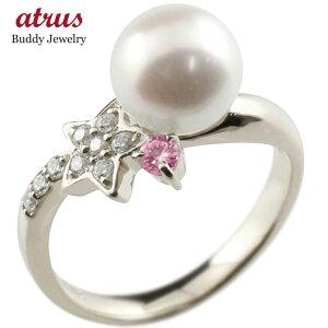 パールリング 真珠 フォーマル 星 スター ピンクサファイア シルバー925 リング ダイヤモンド ピンキーリング ダイヤ 指輪 スパイラル 送料無料 人気