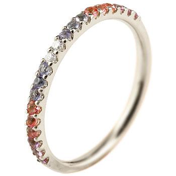 ピンキーリング ダイヤモンド エタニティ ハーフエタニティ プラチナ リング アメジスト 指輪 ダイヤ 2月誕生石 ストレート 宝石