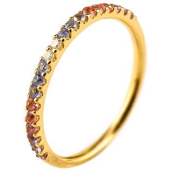 ピンキーリング ダイヤモンド エタニティ ハーフエタニティ リング アメジスト 指輪 イエローゴールドk18 18金 ダイヤ 2月誕生石 ストレート 宝石