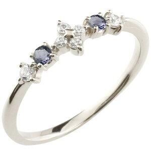 フラワー 花 プラチナリング アイオライト ダイヤモンド ピンキーリング 指輪 華奢リング 重ね付け pt900 レディース 宝石 送料無料