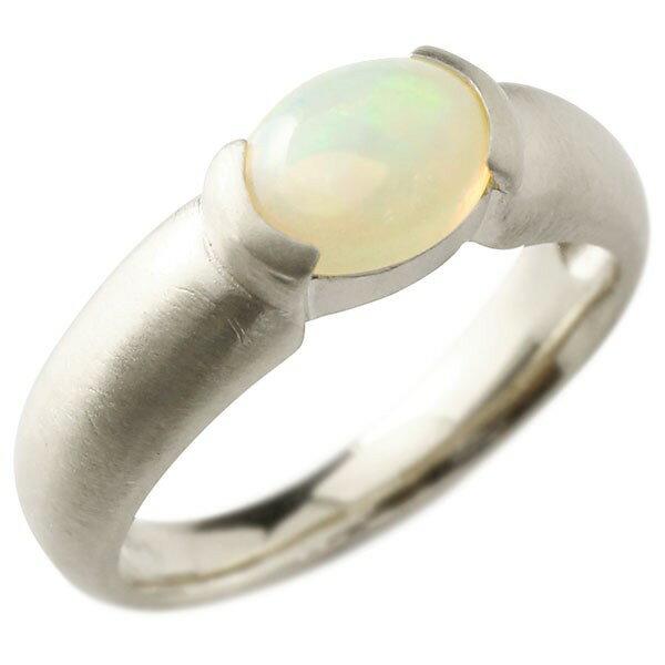 ピンキーリング ホワイトゴールドk18 大粒 一粒 オパール リング 18金 指輪 婚約指輪 エンゲージリング Xmas Christmas