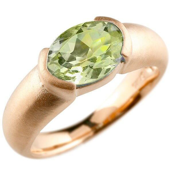 ピンキーリング ピンクゴールドk10 大粒 一粒 ペリドット リング ピンキーリング 10金 指輪 婚約指輪 エンゲージリング 夏