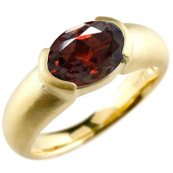 ピンキーリング イエローゴールドk10 大粒 一粒 ガーネット リング ピンキーリング 10金 指輪 婚約指輪 エンゲージリング Xmas Christmas