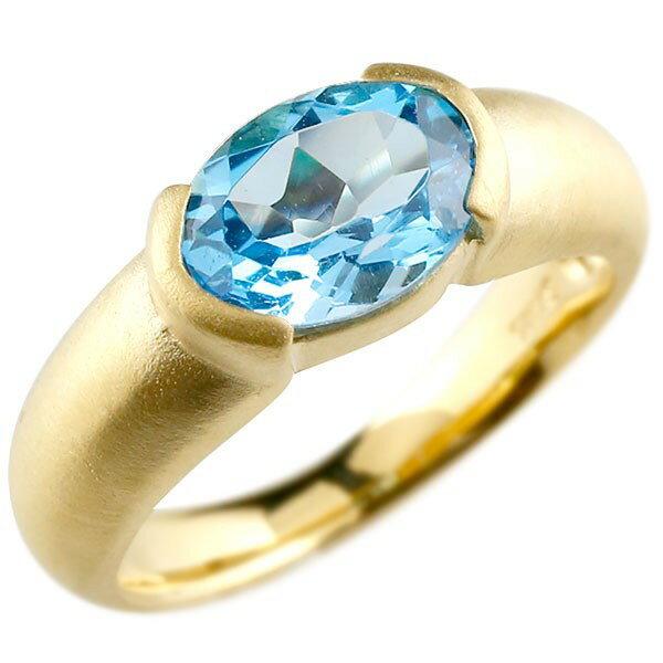 ピンキーリング イエローゴールドk10 大粒 一粒 ブルートパーズ リング ピンキーリング 10金 指輪 婚約指輪 エンゲージリング 夏