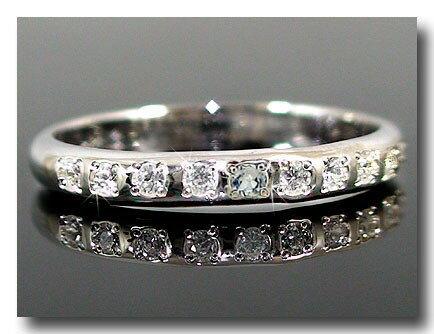 甲丸 ダイヤモンド エタニティ ホワイトゴールドk10リング 指輪 ピンキーリング リング エタニティリング 指輪 0.08ct アクアマリン ダイヤ10金 ダイヤ 2.3