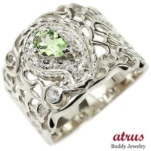 リング ペイズリー ダイヤモンド ペリドット シルバー925 婚約指輪 ピンキーリング ダイヤ 指輪 透かし 幅広 エンゲージリング sv925 送料無料 LGBTQ 男女兼用