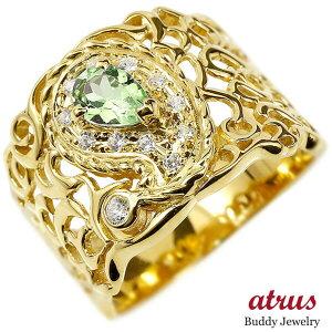 リング ペイズリー ダイヤモンド ペリドット イエローゴールドk18 18k 婚約指輪 ピンキーリング ダイヤ 指輪 透かし 幅広 エンゲージリング 18金 レディース の 送料無料