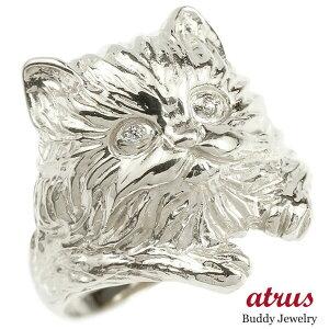 リング ダイヤモンド 猫 ホワイトゴールドk18 エンゲージリング 幅広 指輪 ピンキーリング 婚約指輪 18金 宝石 ねこ ネコ レディース 送料無料 人気