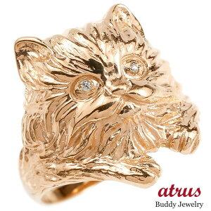 リング ダイヤモンド 猫 ピンクゴールドk10 エンゲージリング 幅広 指輪 ピンキーリング 婚約指輪 10金 宝石 ねこ ネコ 送料無料 LGBTQ 男女兼用