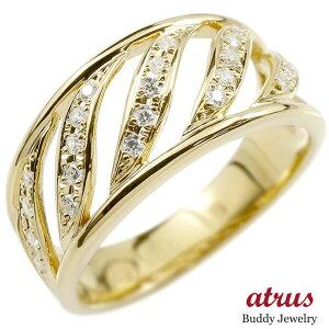 婚約 指輪 リング イエローゴールドk18 キュービックジルコニア エンゲージリング 指輪 幅広 ピンキーリング 18金 レディース 送料無料 人気