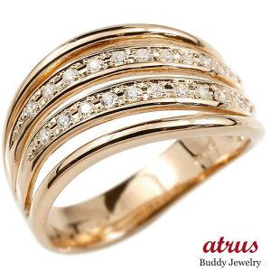 婚約 指輪 リング ピンクゴールドk18 ダイヤモンド ダイヤ エンゲージリング指輪 幅広 ピンキーリング 18金 宝石 レディース 送料無料 人気