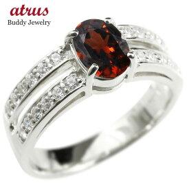 リング ダイヤモンド ガーネット ホワイトゴールドk18 婚約指輪 ピンキーリング ダイヤ 指輪 幅広 エンゲージリング 18金 レディース 送料無料