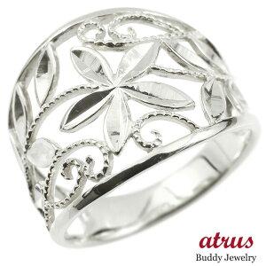 プラチナ 婚約 指輪 リング エンゲージリング 地金 幅広 透かし ミル打ち 花 ボタニカル 指輪 ピンキーリング pt900 レディース 送料無料 LGBTQ 男女兼用