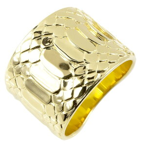 18金 リング ゴールド メンズ 蛇 指輪 イエローゴールドk18 幅広 ピンキーリング 地金 蛇腹 ヘビ シンプル 男性 送料無料