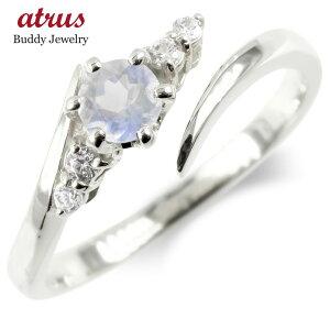 ゴールド フリーサイズリング ブルームーンストーン ダイヤモンド 指輪 ホワイトゴールドk10 婚約指輪 エンゲージリング 送料無料 LGBTQ 男女兼用