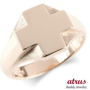 ゴールド リング クロス メンズ 指輪 印台 10k ピンクゴールドk10 10金 地金 ピンキーリング 十字架 幅広 シンプル 男性 送料無料