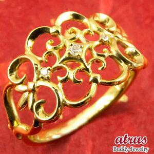 純金 24金 リング ダイヤモンド 指輪 k24 24k 金 ゴールド 婚約指輪 ピンキーリング 4月誕生石 幅広 透かし アンティーク調 送料無料 LGBTQ 男女兼用