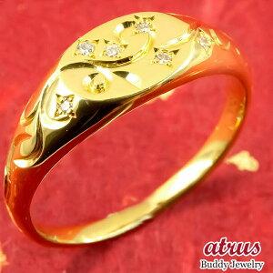 24金 リング メンズ ダイヤモンド 純金 指輪 k24 24k 金 ゴールド ピンキーリング 彫り エングレーヴィング 男性 送料無料 LGBTQ 男女兼用