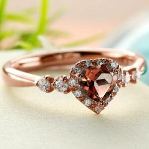 ハート リング ガーネット ダイヤモンド 指輪 ピンクゴールドk18 取り巻き ダイヤ 18金 ストレート 宝石 送料無料