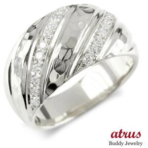 シルバー リング ダイヤモンド メンズ 指輪 sv925 ピンキーリング マイレ スクロール リング 幅広 槌目 槌打ち ロック仕上げ 男性 送料無料