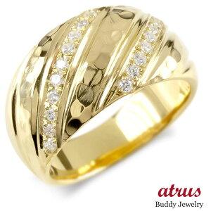 18金 リング ダイヤモンド メンズ 指輪 ゴールド イエローゴールドk18 ピンキーリング マイレ スクロール 幅広 槌目 槌打ち ロック仕上げ 送料無料 人気
