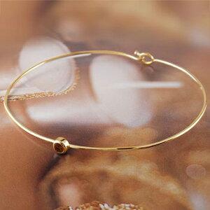 ブレスレット ガーネット 一粒 イエローゴールドk18 バングル 18金 1月誕生石 レディース 宝石 送料無料 人気