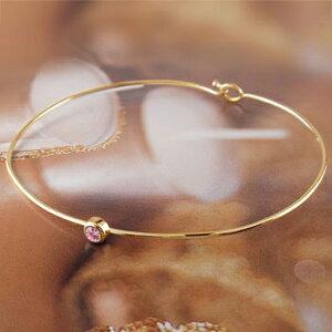 メンズ ピンクサファイア ブレスレット 一粒 イエローゴールドk18 バングル 18金 9月誕生石 男性用 宝石 送料無料