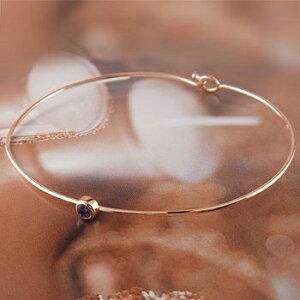 アメジスト ブレスレット 一粒 ピンクゴールドk18 バングル 18金 2月誕生石 宝石 送料無料 LGBTQ ユニセックス 男女兼用