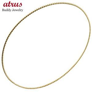 18金 ブレスレット レディース バングル ゴールド 18k シンプル 女性 イエローゴールドk18 地金 ツイスト 送料無料 人気