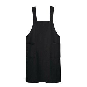 H型エプロン 00875-THA ブラック・黒・くろ ワークエプロン 男女兼用無地 シンプルユニフォーム コットンポリエステル