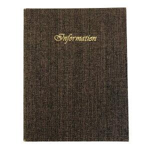 インフォメーションブック ※本体のみ※ A4・30穴バインダー・INFORMATION印字入り IF-621 麻タイプインフォメーション ホテル旅館客室案内用品