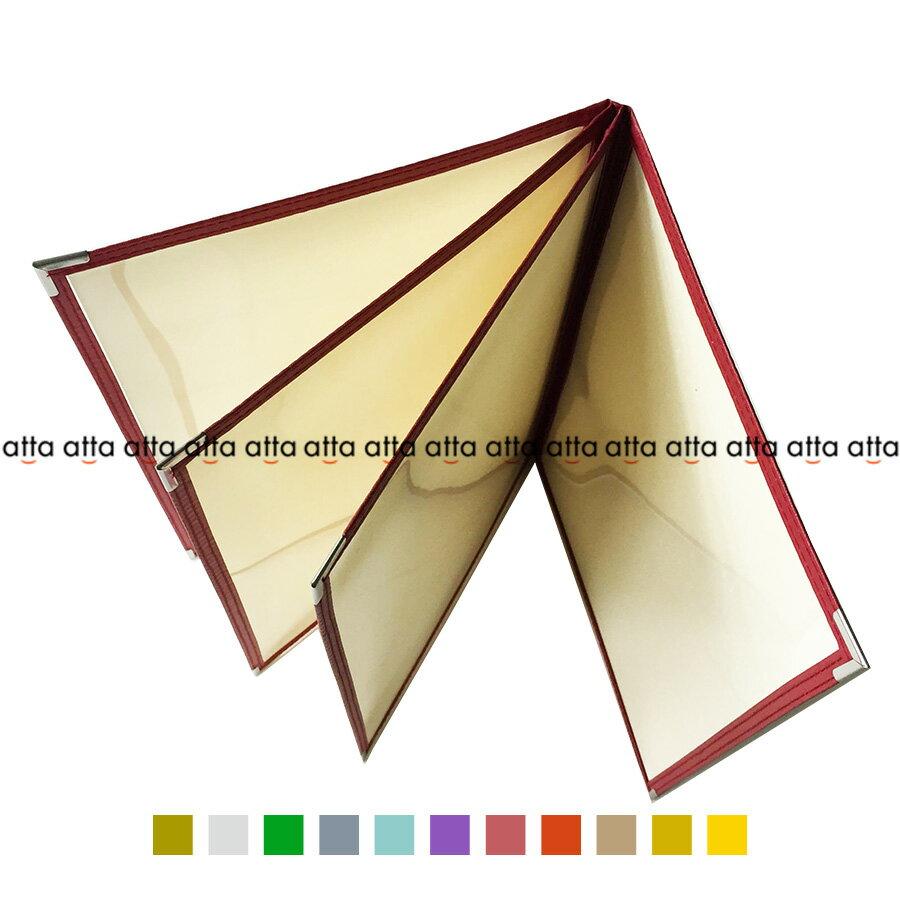 別注テーピングカラー クリアメニューブック 【B4・8ページ】 LTB-48 SPC 合皮クリアテーピングメニュー シルバー・ゴールド・若草・グレー・スカイブルー・パープル・ピンク・オレンジ・ベージュ・からし・イエロー
