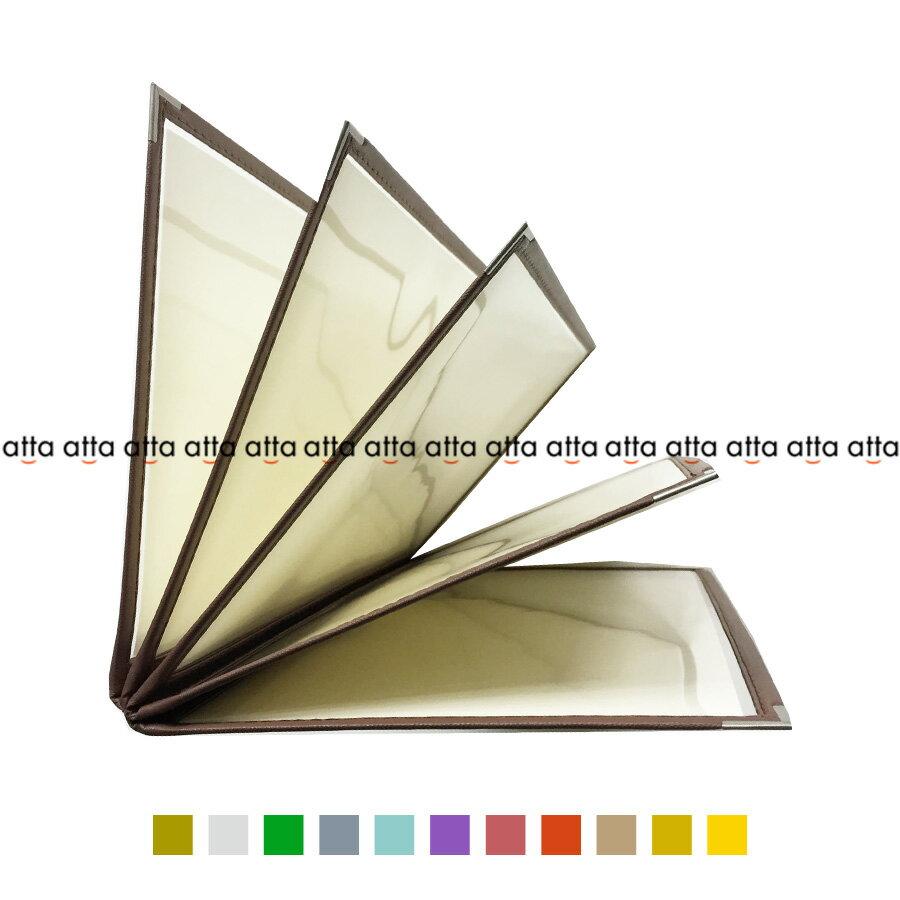 別注テーピングカラー クリアメニューブック 【B4・10ページ】 LTB-410 SPC 合皮クリアテーピングメニュー シルバー・ゴールド・若草・グレー・スカイブルー・パープル・ピンク・オレンジ・ベージュ・からし・イエロー