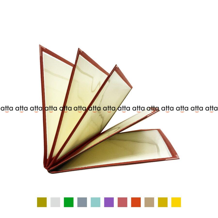 別注テーピングカラー クリアメニューブック 【A4・10ページ】 LTA-410 SPC 合皮クリアテーピングメニュー シルバー・ゴールド・若草・グレー・スカイブルー・パープル・ピンク・オレンジ・ベージュ・からし・イエロー