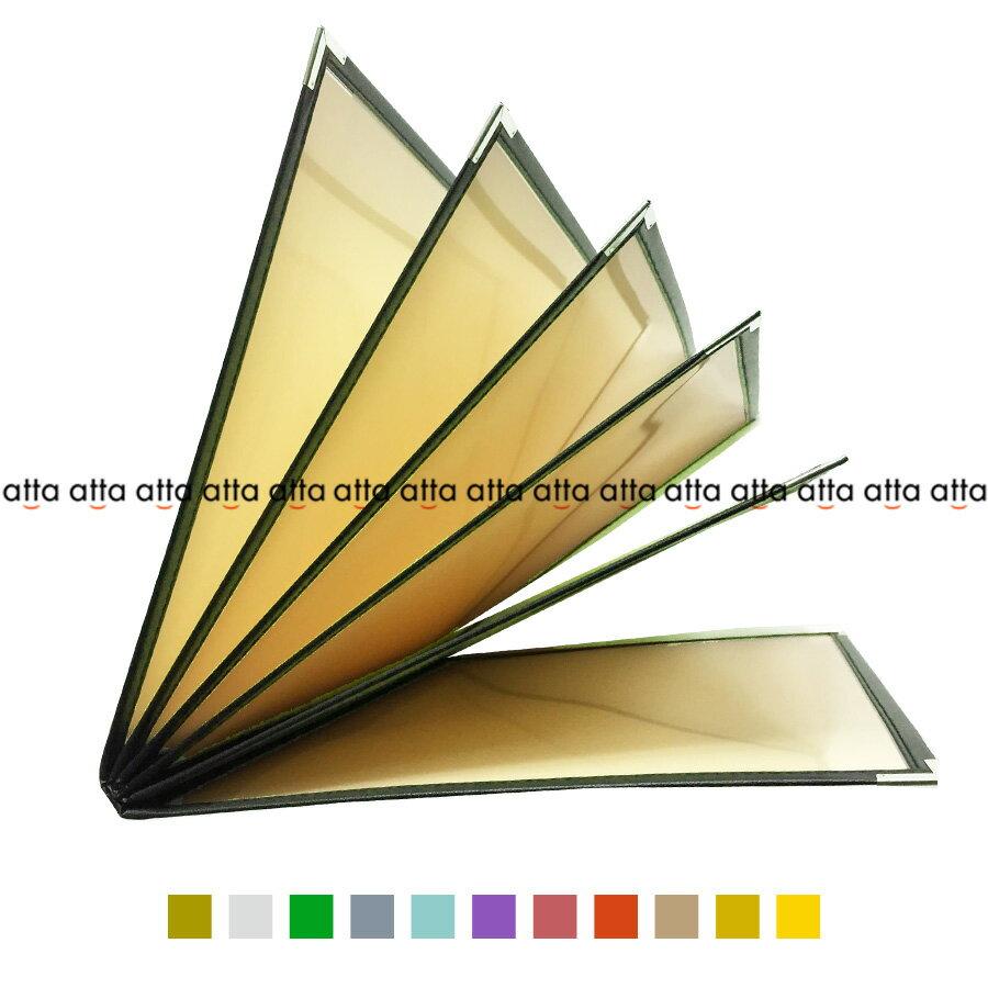 別注テーピングカラー クリアメニューブック 【B4・12ページ】 LTB-412 SPC 合皮クリアテーピングメニュー シルバー・ゴールド・若草・グレー・スカイブルー・パープル・ピンク・オレンジ・ベージュ・からし・イエロー