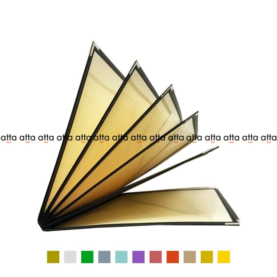 別注テーピングカラー クリアメニューブック 【A4・12ページ】 LTA-412 SPC 合皮クリアテーピングメニュー シルバー・ゴールド・若草・グレー・スカイブルー・パープル・ピンク・オレンジ・ベージュ・からし・イエロー