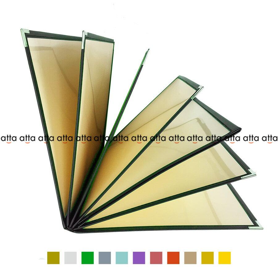 別注テーピングカラー クリアメニューブック 【B4・14ページ】 LTB-414 SPC 合皮クリアテーピングメニュー シルバー・ゴールド・若草・グレー・スカイブルー・パープル・ピンク・オレンジ・ベージュ・からし・イエロー