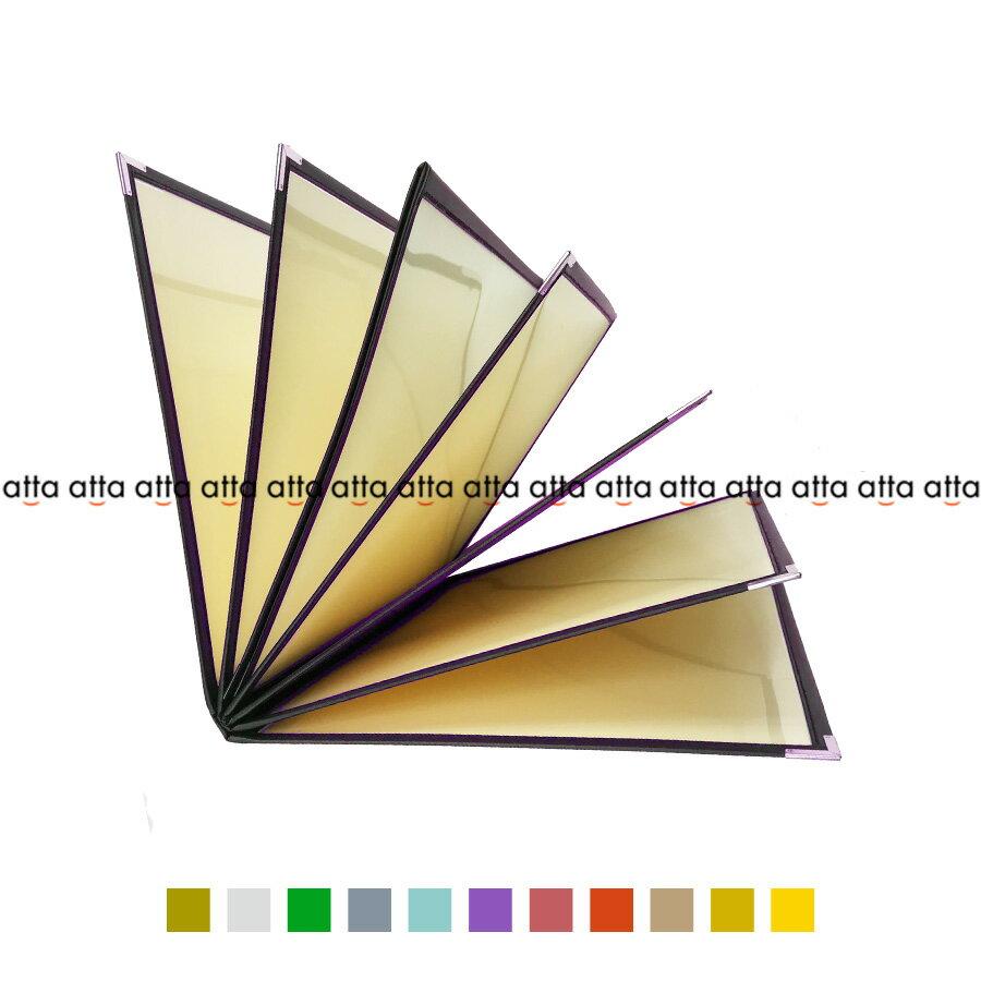 別注テーピングカラー クリアメニューブック 【A4・14ページ】 LTA-414 SPC 合皮クリアテーピングメニュー シルバー・ゴールド・若草・グレー・スカイブルー・パープル・ピンク・オレンジ・ベージュ・からし・イエロー