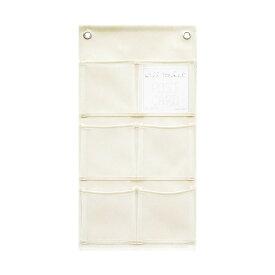 ウォールポケット(合皮×メッシュ) マチ付・ポストカード(6ポケット) オフホワイト W-430 4990630430215【大判レターフォルダー・壁掛けポケット・サキ壁掛け収納】