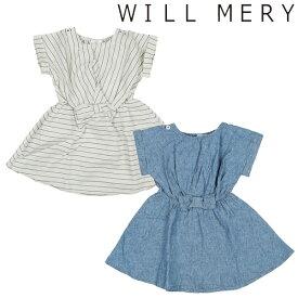 ウィルメリー Will Mery ウエストリボン綿麻ワンピース(80cm・90cm・95cm・100cm・110cm・120cm・130cm)